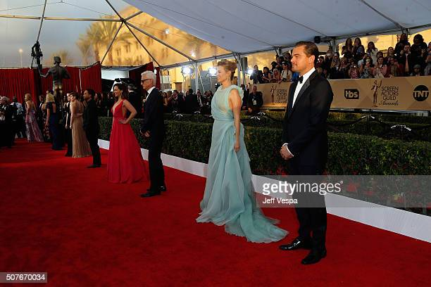 Actors Leonardo DiCaprio January Jones John Slattery and Emilia Clarke attend the 22nd Annual Screen Actors Guild Awards at The Shrine Auditorium on...