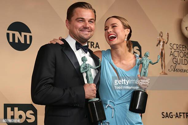 Actors Leonardo DiCaprio winner for Outstanding Performance By a Male Actor in a Leading Role 'The Revenant' and Brie Larson winner for Outstanding...