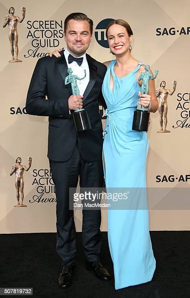 Actors Leonardo DiCaprio winner of Outstanding Performance By a Male Actor in a Leading Role for 'The Revenant' and Brie Larson winner of Outstanding...