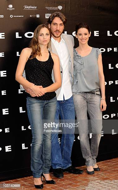 Actors Leonor Watling Alberto Ammann and Pilar Lopez de Ayala attend 'Lope' photocall at the Intercontinental Hotel on August 31 2010 in Madrid Spain