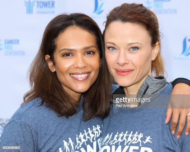Actors Lesley Ann Brandt and Scottie Thompson attend the 'Power Of Tower' run/walk at UCLA on March 11 2018 in Los Angeles California