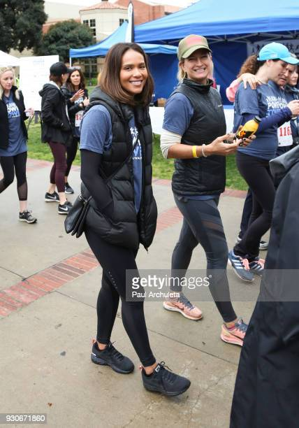 Actors Lesley Ann Brandt and Zoe Bell attend the Power Of Tower run/walk at UCLA on March 11 2018 in Los Angeles California