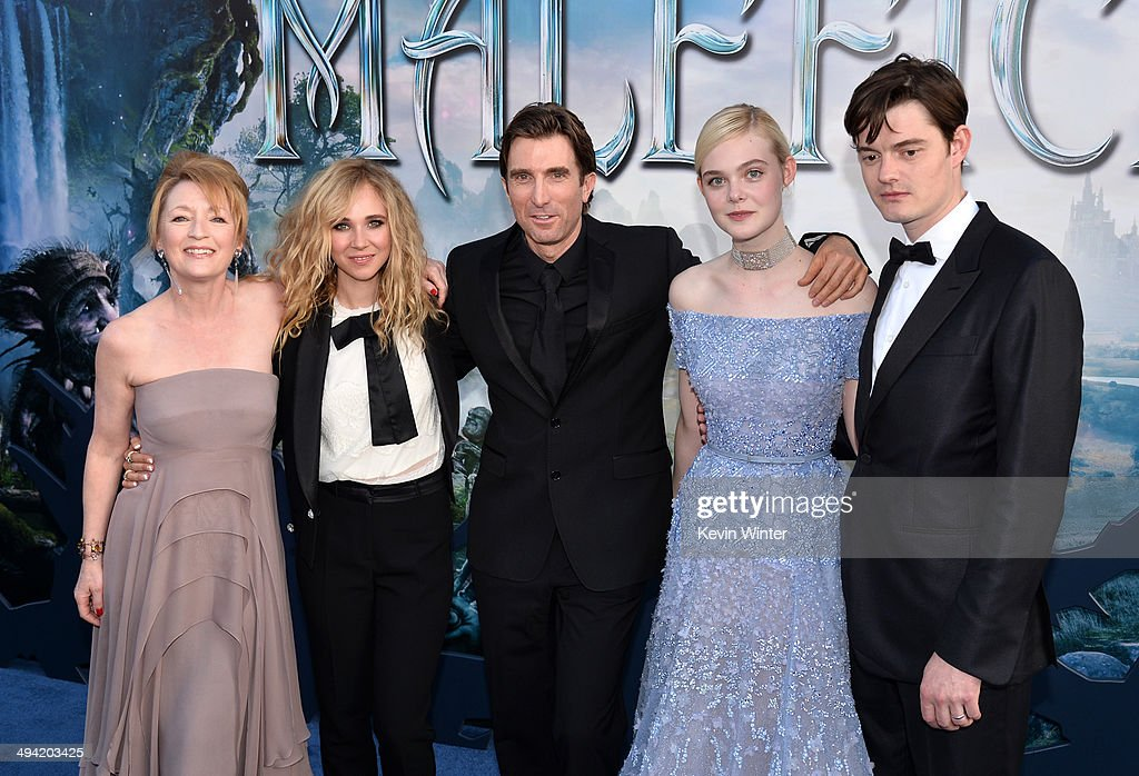 Actors Lesley Manville, Juno Temple, Sharlto Copley, Elle Fanning and Sam Riley attend the World Premiere of Disney's 'Maleficent' at the El Capitan Theatre on May 28, 2014 in Hollywood, California.