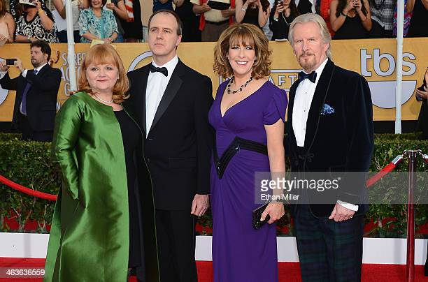 Actors Lesley Nicol Kevin Doyle Phyllis Logan and David Robb attend the 20th Annual Screen Actors Guild Awards at The Shrine Auditorium on January 18...