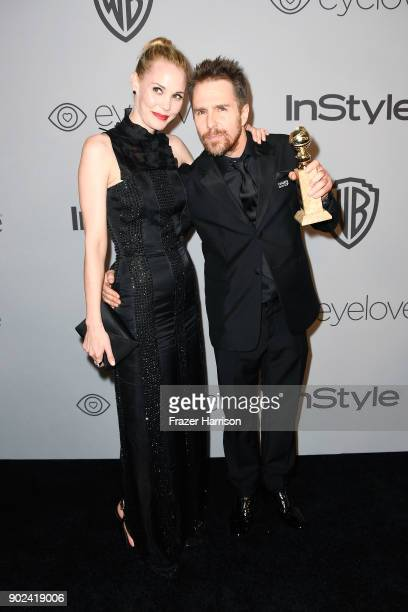 Actors Leslie Bibb and Sam Rockwell attend 19th Annual PostGolden Globes Party hosted by Warner Bros Pictures and InStyle at The Beverly Hilton Hotel...