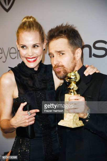 Actors Leslie Bibb and Sam Rockwell attend the 19th Annual PostGolden Globes Party hosted by Warner Bros Pictures and InStyle at The Beverly Hilton...