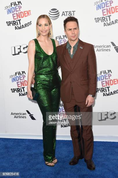 Actors Leslie Bibb and Sam Rockwell attend the 2018 Film Independent Spirit Awards on March 3, 2018 in Santa Monica, California.