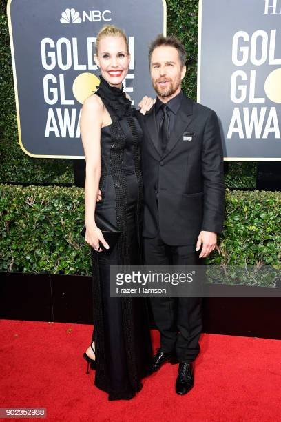 Actors Leslie Bibb and Sam Rockwell attend The 75th Annual Golden Globe Awards at The Beverly Hilton Hotel on January 7 2018 in Beverly Hills...