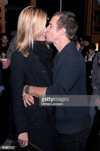 """Actors Leslie Bibb and Sam Rockwell attend the afterparty for a screening of """"Gentlemen Broncos"""" at Tribeca Cinemas on October 26, 2009 in New York..."""