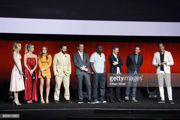 Actors Leslie Bibb Annabelle Wallis Isla Fisher Jake Johnson Jon Hamm Hannibal Buress Jeremy Renner Ed Helms and Will Arnett speak onstage during...