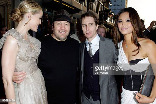 Actors Leslie Bibb Kevin James Sam Rockwell and Steffiana De La Cruz arrive at the Iron Man 2 World Premiere at El Capitan Theatre on April 26 2010...