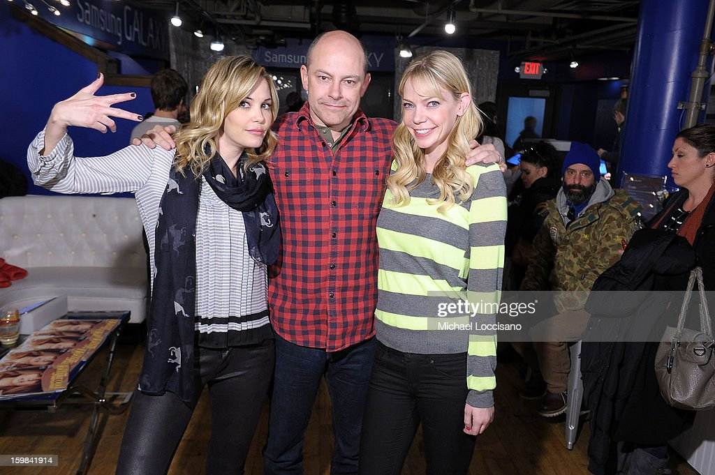 Actors Leslie Bibb, Rob Corddry and Riki Lindhome attend Day 4 of Samsung at Village At The Lift 2013 on January 21, 2013 in Park City, Utah.