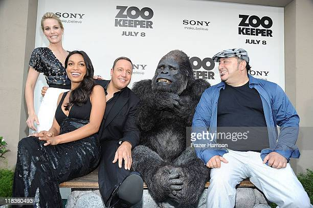 Actors Leslie Bibb Rosario Dawson Kevin James and Frank Coraci director pose at the Premiere of The Zookeeper at the Regency Village Theater Westwood...