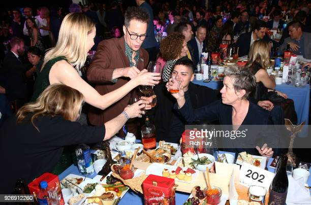 Actors Leslie Bibb Sam Rockwell Pedro McDormand Coen and Frances McDormand attend the 2018 Film Independent Spirit Awards on March 3 2018 in Santa...