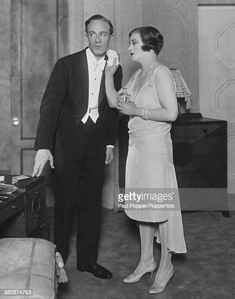 Actors Leslie Howard as Andre Sallicel and Tallulah Bankhead as Simone rehearsing scenes for the play 'Her Cardboard Lover' at the Lyric Theatre...