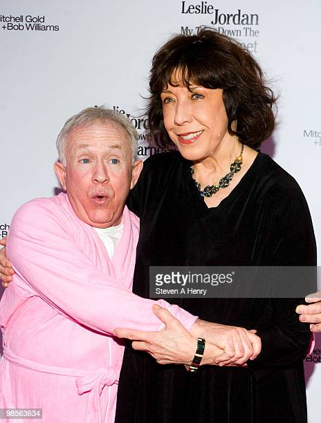 Actors Leslie Jordan and Lily Tomlin attend the opening night of My Trip Down The Pink Carpet at The Midtown Theater on April 19 2010 in New York City