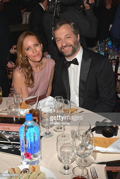 Actors Leslie Mann and Judd Apatow attend the 73rd annual Golden Globe Awards sponsored by FIJI Water at The Beverly Hilton Hotel on January 10 2016...