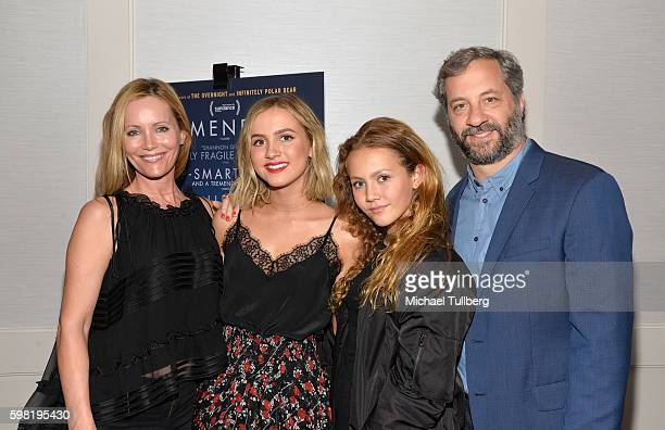 Actors Leslie Mann and Maude Apatow Iris Apatow and actor Judd Apatow attends the premiere of Vertical Entertainment's Other People at The London...