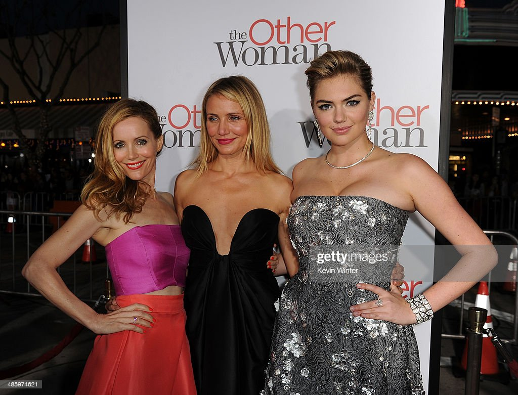 Actors Leslie Mann, Cameron Diaz and Kate Upton attend the premiere of Twentieth Century Fox's 'The Other Woman' at Regency Village Theatre on April 21, 2014 in Westwood, California.