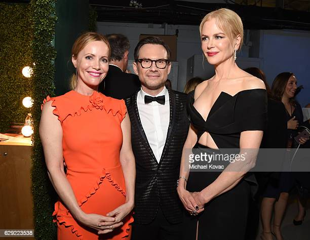 Actors Leslie Mann Christian Slater and Nicole Kidman attend The 22nd Annual Critics' Choice Awards at Barker Hangar on December 11 2016 in Santa...