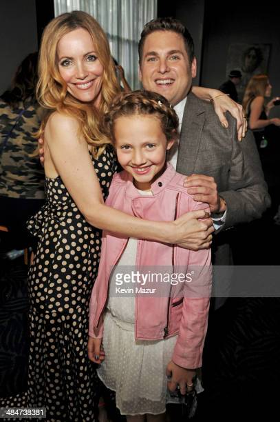 Actors Leslie Mann Iris Apatow and Jonah Hill attend the 2014 MTV Movie Awards at Nokia Theatre LA Live on April 13 2014 in Los Angeles California