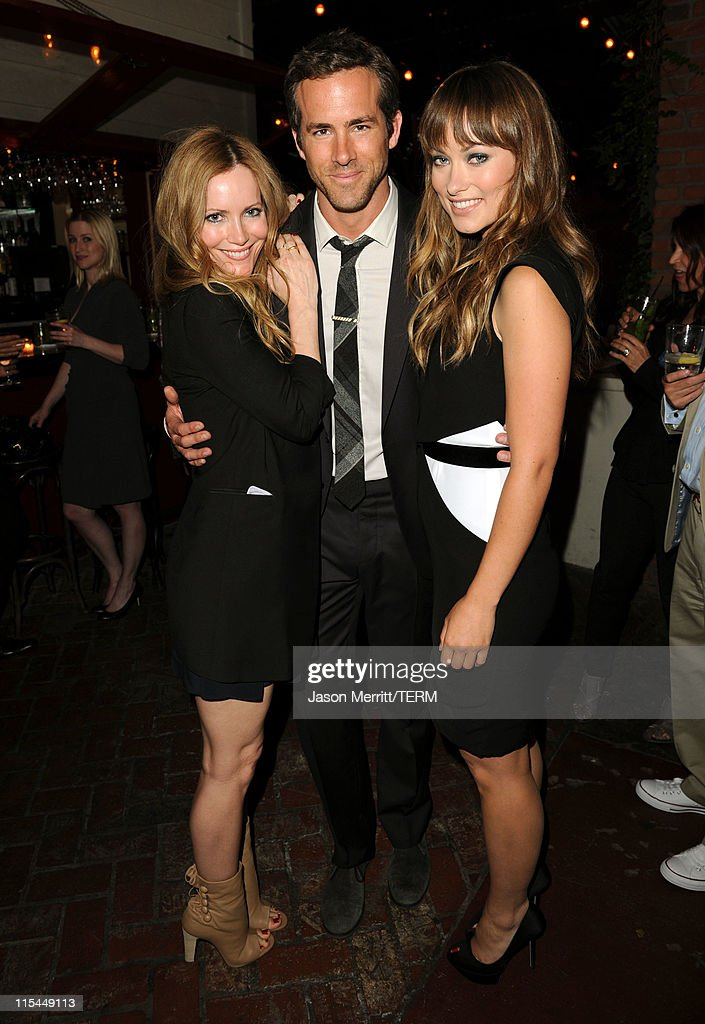 Actors Leslie Mann, Ryan Reynolds, and Olivia Wilde attend the Details Magazine/ Ryan Reynolds Party held at Dominick's Restaurant on June 6, 2011 in Los Angeles, California.