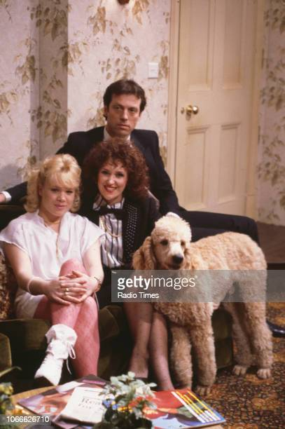 Actors Letitia Dean Anita Dobson and Leslie Grantham pictured on the set of the BBC soap opera 'EastEnders' December 18th 1985