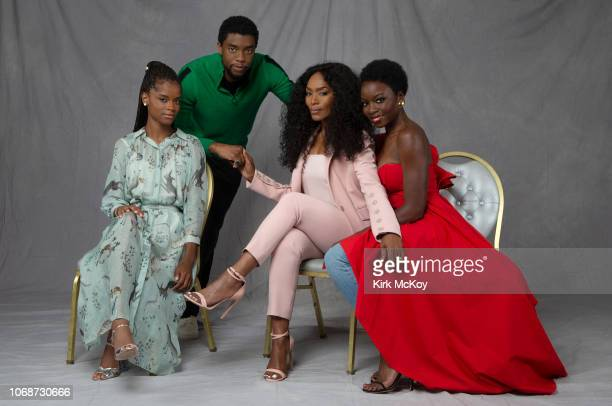 Actors Letitia Wright Chadwick Boseman Angela Bassett and Danai Gurira are photographed for Los Angeles Times on September 15 2018 in Hollywood...