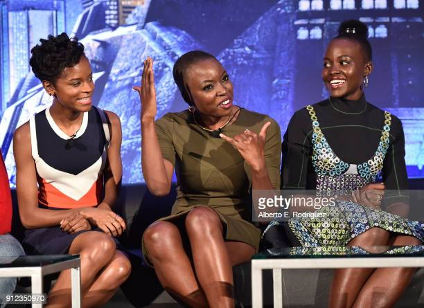 Actors Letitia Wright Danai Gurira and Lupita Nyong'o attend the Marvel Studios' BLACK PANTHER Global Junket Press Conference on January 30 2018 at...