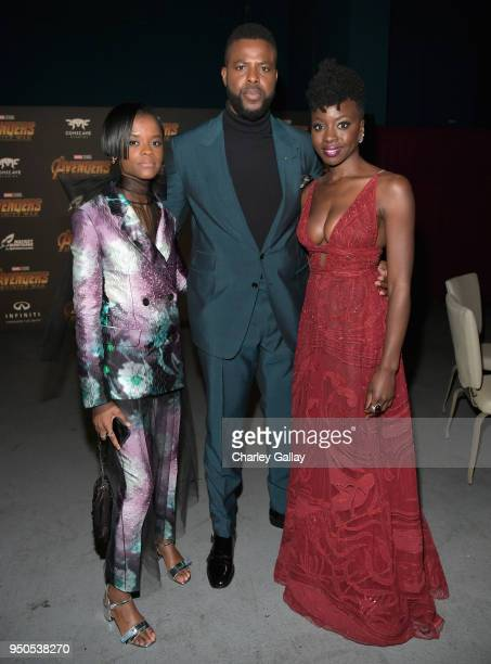 Actors Letitia Wright Winston Duke and Danai Gurira attend the Los Angeles Global Premiere for Marvel Studios' Avengers Infinity War on April 23 2018...