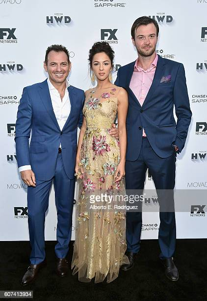 Actors Lev Gorn Annet Mahendru and Costa Ronin attend the Vanity and FX Annual Primetime Emmy Nominations Party at Craft Restaurant on September 17...