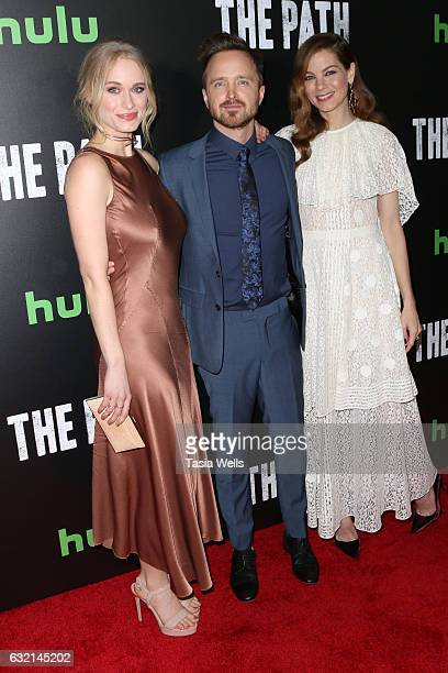 """Actors Leven Rambin, Aaron Paul and Michelle Monaghan attend the premiere of Hulu's """"The Path"""" Season 2 at Sundance Sunset Cinema on January 19, 2017..."""