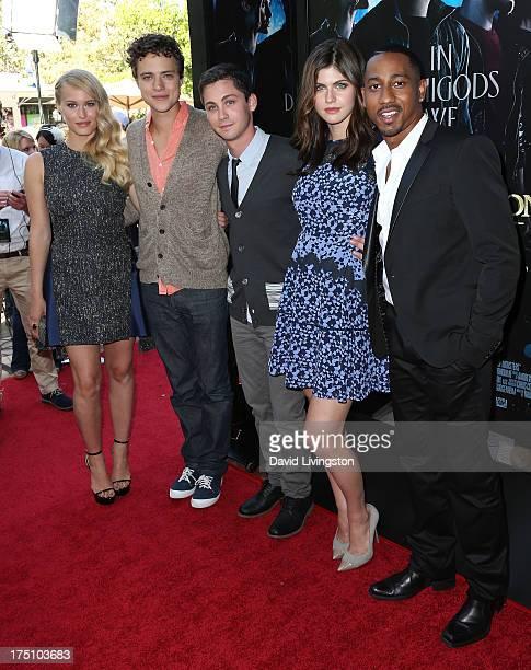 Actors Leven Rambin Douglas Smith Logan Lerman Alexandra Daddario and Brandon T Jackson attend a screening of Twentieth Century Fox and Fox 2000's...