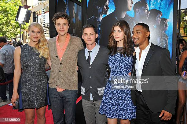Actors Leven Rambin Douglas Smith Logan Lerman Alexandra Daddario and Brandon T Jackson arrive at the premiere of 'Percy Jackson Sea Of Monsters' at...