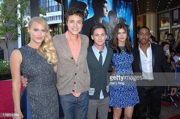 Actors Leven Rambin Douglas Smith Logan Lerman Alexandra Daddario and Brandon T Jackson attend the premiere of 'Percy Jackson Sea Of Monsters' on...