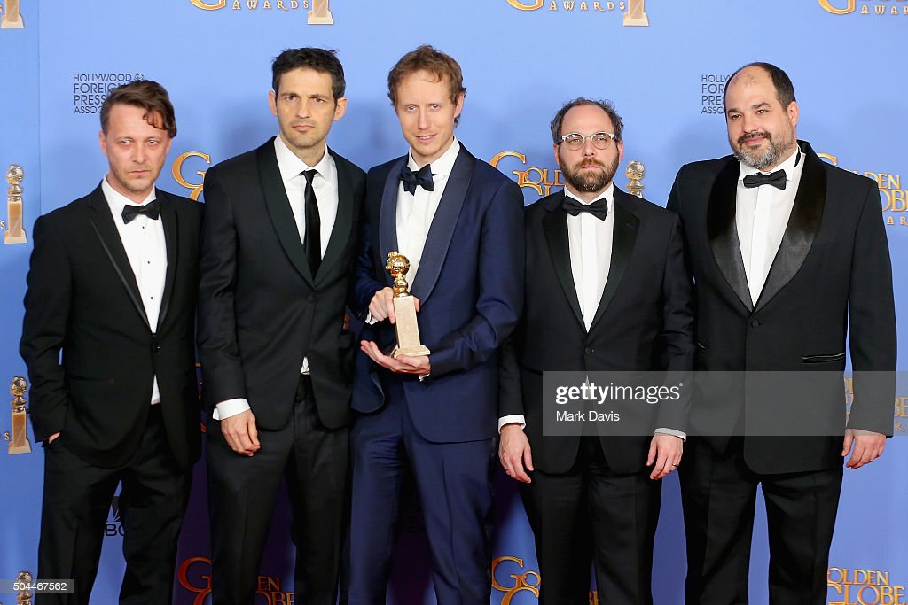 Actors Levente Molnar and Geza Rohrig, director Laszlo Nemes, producers Gabor Sipos and Gabor Rajna, winners of Best Foreign Language Film for 'Son of Saul,' pose in the press room during the 73rd Annual Golden Globe Awards held at the Beverly Hilton Hotel on January 10, 2016 in Beverly Hills, California.