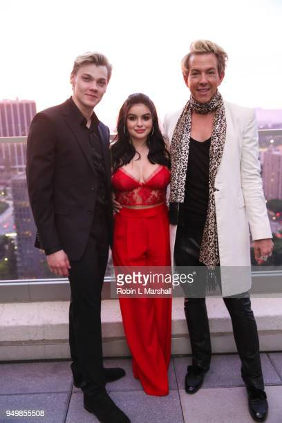 Actors Levi Meaden Ariel Winter and Fashion Stylist Derek Warburton attend the LaPalme Magazine Spring Issue Launch at Vespaio on April 21 2018 in...