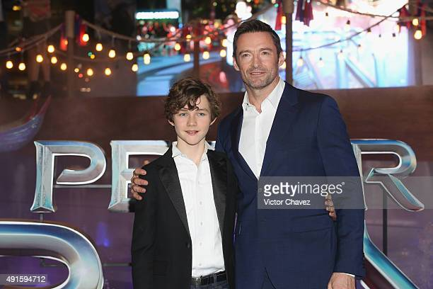 Actors Levi Miller and Hugh Jackman attend the 'Pan' Mexico City premiere at Parque Toreo on October 6 2015 in Mexico City Mexico