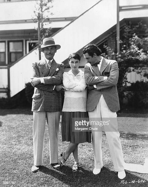 Actors Lew Cody Beatrice Lillie and John Gilbert at the MetroGoldwyn Mayer studios at Culver City