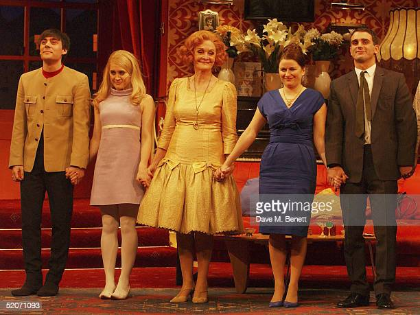 Actors Liam Carrigan, Madeleine Worrall, Sheila Hancock, Rosie Cavaliero and John Marquez take a bow at the curtain call following the first night of...