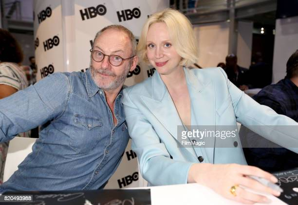 Actors Liam Cunningham and Gwendoline Christie at the 'Game of Thrones' autograph signing with HBO at San Diego ComicCon International 2017 at San...