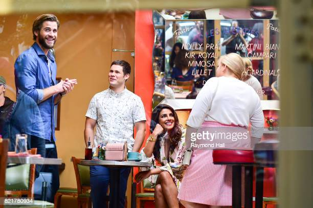 Actors Liam Hemsworth Adam Devine Priyanka Chopra and Rebel Wilson are seen on the set of 'Isn't It Romantic'on July 24 2017 in New York City