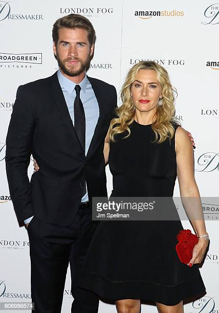 Actors Liam Hemsworth and Kate Winslet attend the 'The Dressmaker' New York screening at Florence Gould Hall Theater on September 16 2016 in New York...