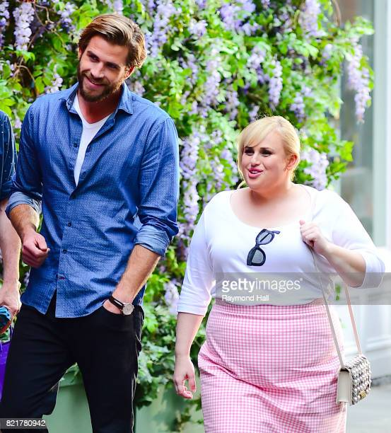 Actors Liam Hemsworth and Rebel Wilson are seen on the set of 'Isn't It Romantic' on July 24 2017 in New York City