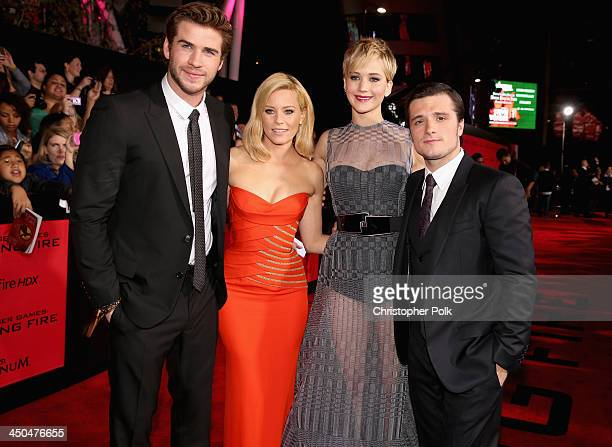 Actors Liam Hemsworth Elizabeth Banks Jennifer Lawrence and Josh Hutcherson attend premiere of Lionsgate's The Hunger Games Catching Fire Red Carpet...