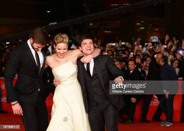 Actors Liam Hemsworth Jennifer Lawrence and Josh Hutcherson attend the 'The Hunger Games Catching Fire' Premiere during The 8th Rome Film Festival at...
