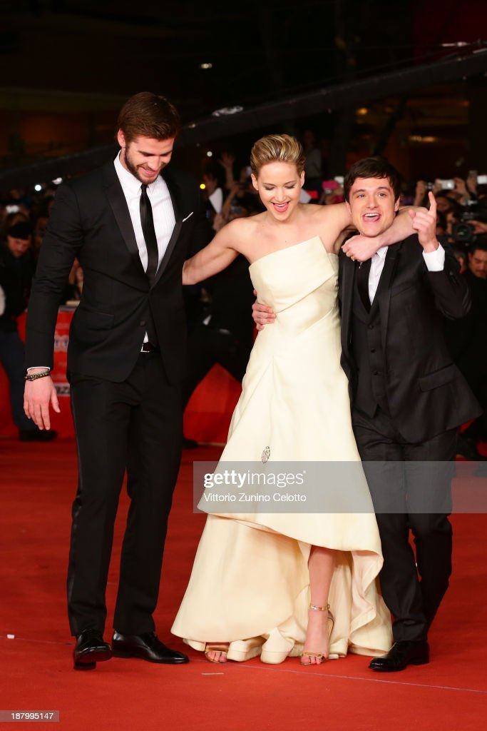 Actors Liam Hemsworth, Jennifer Lawrence and Josh Hutcherson attend the 'The Hunger Games: Catching Fire' Premiere during The 8th Rome Film Festival at Auditorium Parco Della Musica on November 14, 2013 in Rome, Italy.