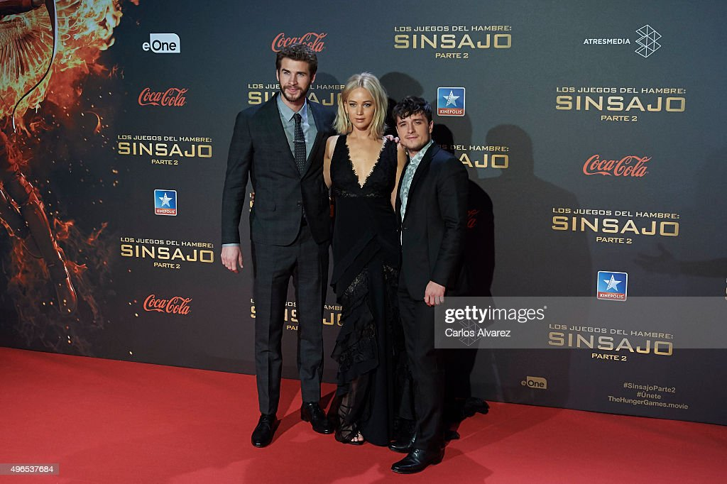 Actors Liam Hemsworth, Jennifer Lawrence and Josh Hutcherson attend 'The Hunger Games: Mockingjay - Part 2' (Los Juegos del Hambre: Sinsajo Parte 2) premiere at the Kinepolis Cinema on November 10, 2015 in Madrid, Spain.
