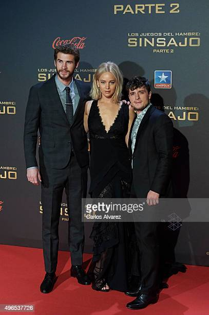 Actors Liam Hemsworth Jennifer Lawrence and Josh Hutcherson attend The Hunger Games Mockingjay Part 2 premiere at the Kinepolis Cinema on November 10...