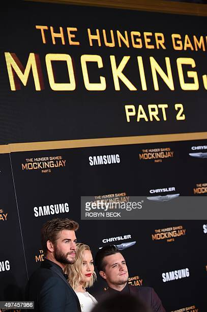 """Actors Liam Hemsworth , Jennifer Lawrence and Josh Hutcherson attend the premiere of """"The Hunger Games: Mockingjay - Part 2"""" at the Microsoft Theater..."""
